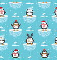 christmas seamless pattern with penguin on ice vector image