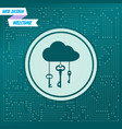 cloud computer storage with lock icon on a green vector image vector image