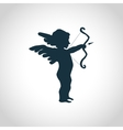 Cupid with bow silhouette vector image