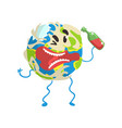 drunk cartoon earth planet character with bottle vector image vector image