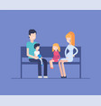 family sitting on a bench - modern flat design vector image vector image