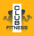 fitness club emblem with silhouettes training vector image