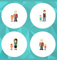 flat icon family set of boys grandpa daugther vector image vector image