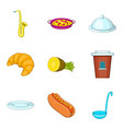 food delivery icons set cartoon style vector image vector image