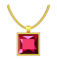 garnet necklace icon realistic style vector image