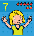 girl showing seven by hand counting education card vector image vector image
