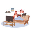 girl watching tv in home living room young woman vector image