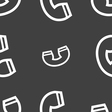 handset icon sign Seamless pattern on a gray vector image vector image