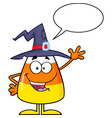 happy candy corn with speech bubble vector image vector image