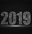 happy new year 2019 text design with glowing vector image vector image