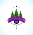 Happy new year label with fir trees vector image