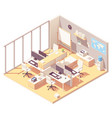 isometric office with cubicle vector image vector image