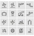 line airport icon set vector image vector image