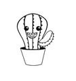 line kawaii cute happy cactus plant vector image vector image