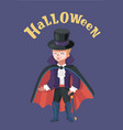 little boy dressed up as a vampire halloween vector image