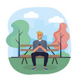 man seating in chair with smartphone vector image