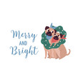 merry and bright lettering christmas dogs couple vector image vector image