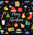 merry christmas seamless pattern flat style vector image vector image