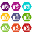 photocamera icons set 9 vector image vector image