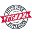 Pittsburgh red round grunge vintage ribbon stamp vector image vector image