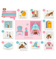 puppy care and safety in your home bedroom pet vector image vector image