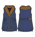 quilted denim vest with fur collar vector image vector image