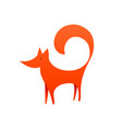 red fox logo with negative space laconic vector image