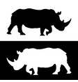 rhino black and white silhouettes vector image vector image