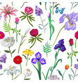 seamless floral pattern in on white vector image vector image