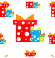 seamless pattern gift boxes red blue green vector image vector image