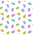seamless pattern with funny colorful comic bugs vector image vector image