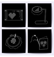 Set of cards with embroidery tools The white line vector image vector image