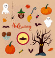 set of halloween elements vector image vector image