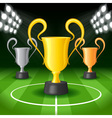 Soccer Background with Three Award Trophy vector image vector image
