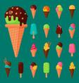 sweet cartoon cold ice cream set and tasty frozen vector image vector image