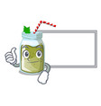 thumbs up with board green juice smoothe in vector image vector image
