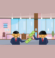 two asian business men holding dollar banknotes vector image vector image