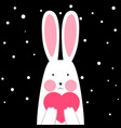 happy cute funny rabbit with heart - winter vector image