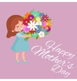 baby girl with flowers cart vector image vector image