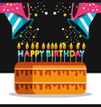 birthday cake with candles and trumpets vector image vector image