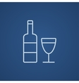 Bottle of wine line icon vector image