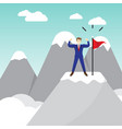 businessman standing on pinnacle of the mountain vector image vector image