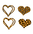 cheetah heart print object set isolated on vector image vector image