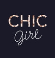 chic girl glamour trendy fashion tee shirt print vector image