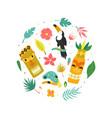 circle concept design with hawaiian elements vector image