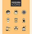 coffee - set of line design style icons vector image vector image