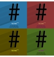 Color set sharp Flat modern web button with long vector image vector image