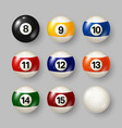 colorful billiard pool balls with numbers on gray vector image