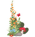 corner design with flowers mushrooms vector image