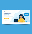 customer service landing page woman with vector image vector image